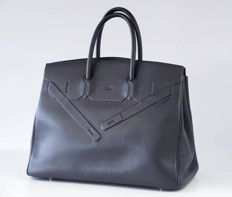 HERMES Shadow BIRKIN 35 Bag Ardoise Evercalf Leather Limited Edition VERY Rare 3