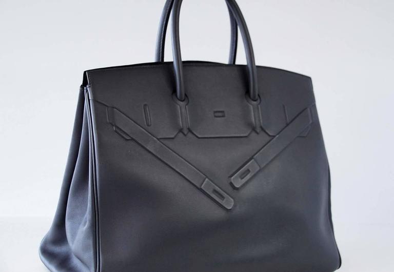 HERMES Shadow BIRKIN 35 Bag Ardoise Evercalf Leather Limited Edition VERY Rare 4