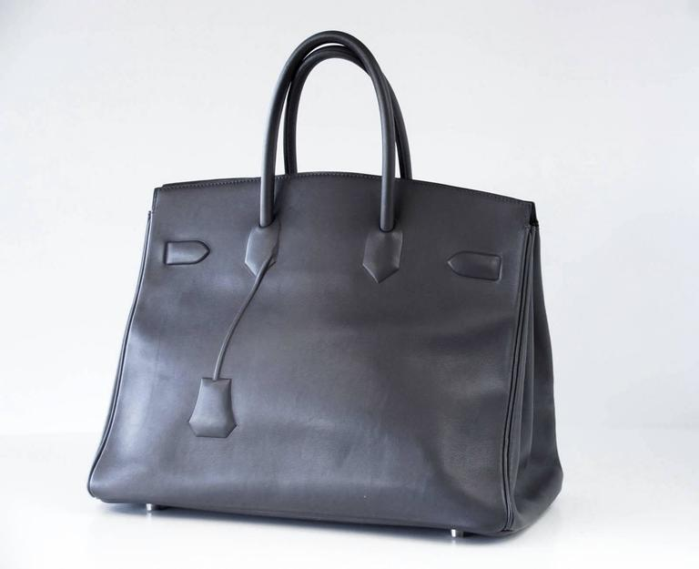 HERMES Shadow BIRKIN 35 Bag Ardoise Evercalf Leather Limited Edition VERY Rare 5