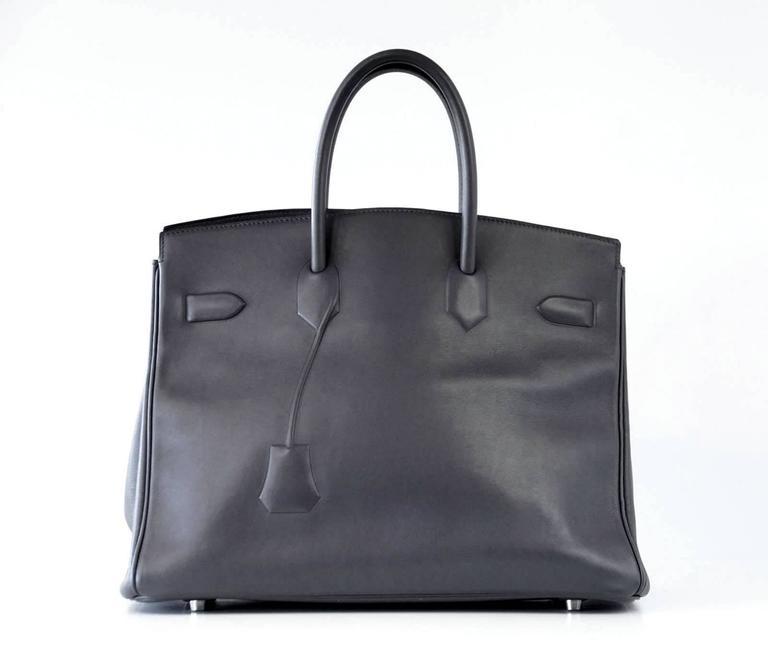 HERMES Shadow BIRKIN 35 Bag Ardoise Evercalf Leather Limited Edition VERY Rare 6
