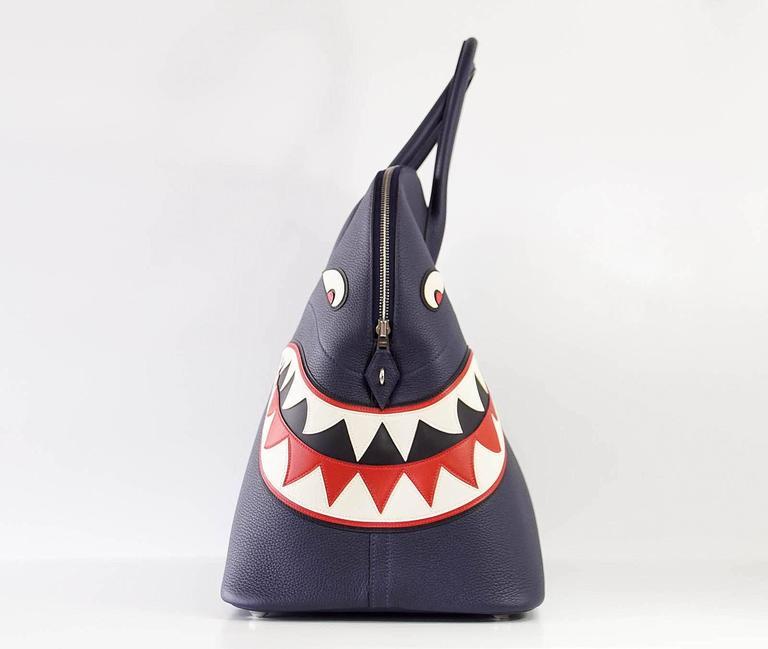 Hermes Bolide Runway Bag Shark Monster Unisex Blue Indigo Limited Edition 3