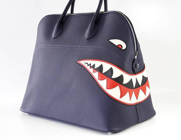 Hermes Bolide Runway Bag Shark Monster Unisex Blue Indigo Limited Edition 4
