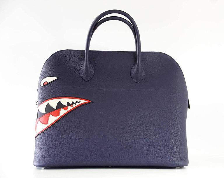 Hermes Bolide Runway Bag Shark Monster Unisex Blue Indigo Limited Edition 6