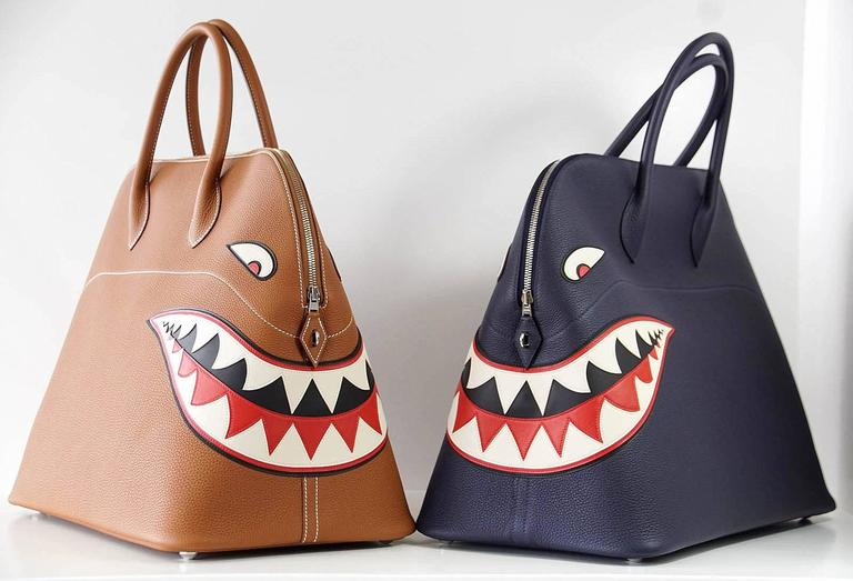 Hermes Bolide Runway Bag Shark Monster Unisex Blue Indigo Limited Edition 10