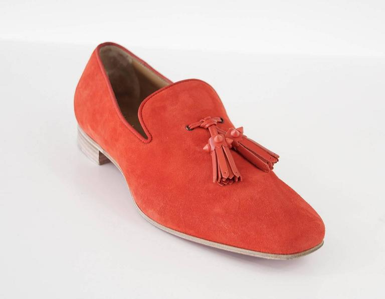 Christian Louboutin Men's Very Beautiful Red Suede Loafer Spike Tassels  42 / 9 For Sale 1