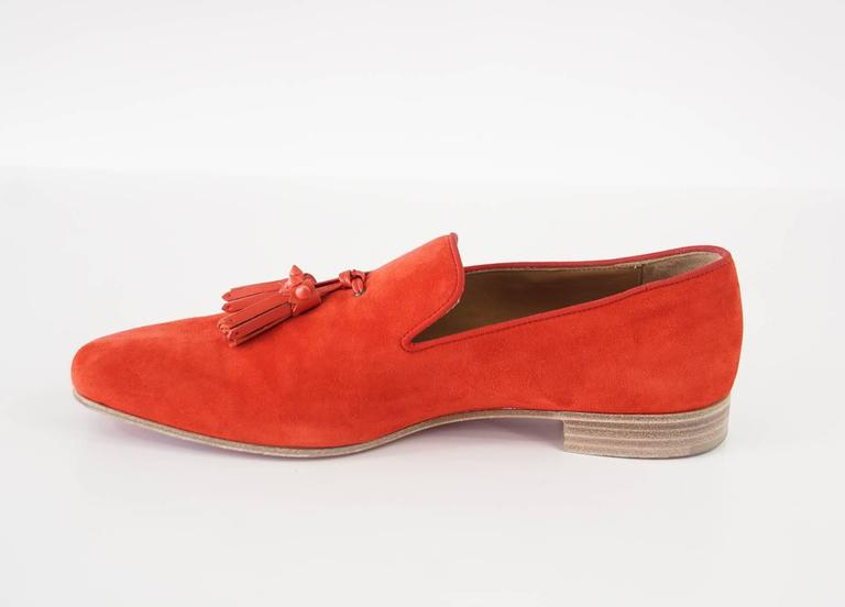 Christian Louboutin Men's Very Beautiful Red Suede Loafer Spike Tassels  42 / 9 5
