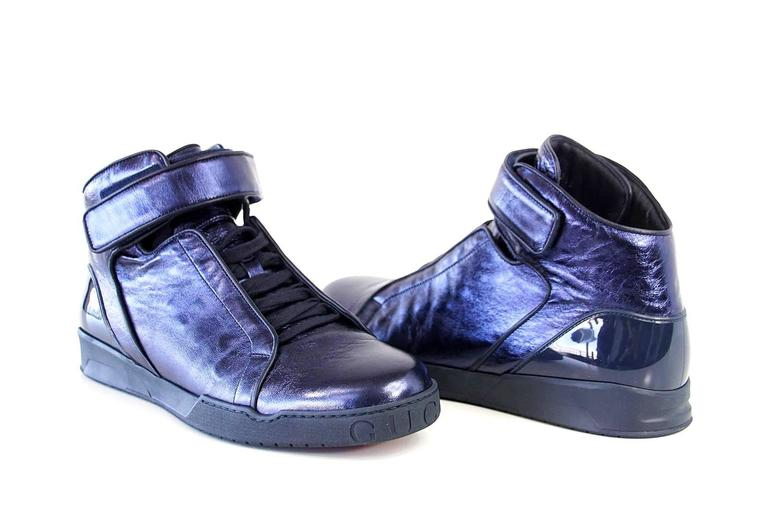 Gray  Gucci Shoe Men's Midnight Blue Nappa Silk Leather High Top Sneaker  9.5 new For Sale