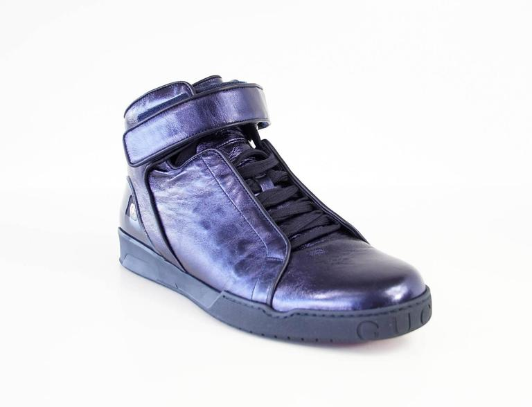 Gucci Shoe Men's Midnight Blue Nappa Silk Leather High Top Sneaker  9.5 new For Sale 1