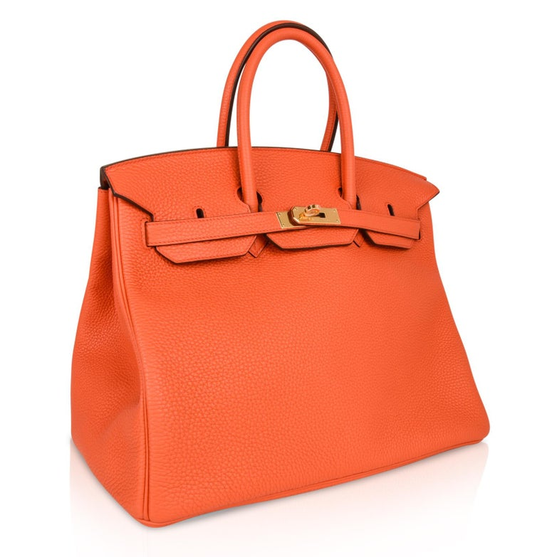 0c531057d1bf Hermes Birkin 35 Bag Orange Poppy Togo Gold Hardware For Sale at 1stdibs