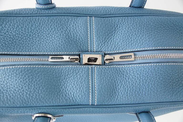 Hermes 35 Victoria II Bag Blue Jean Palladium Hardware For Sale 1