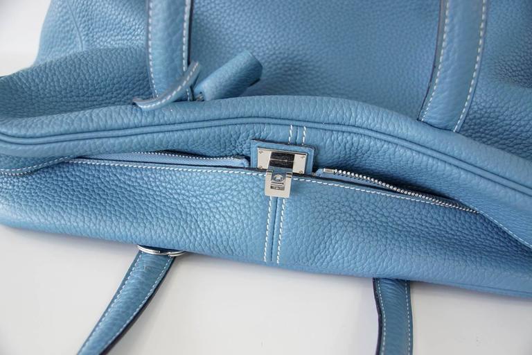 Hermes 35 Victoria II Bag Blue Jean Palladium Hardware For Sale 2
