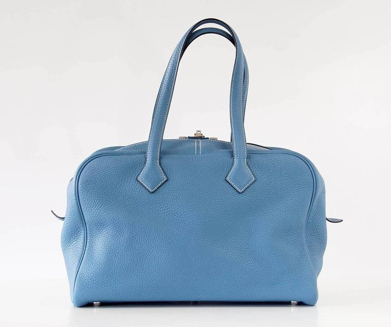 Hermes 35 Victoria II Bag Blue Jean Palladium Hardware For Sale 3
