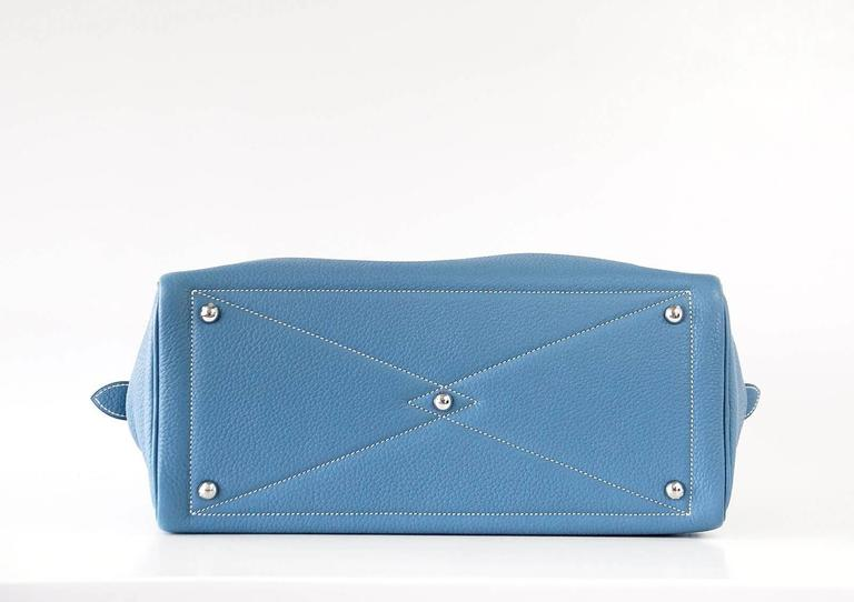Hermes 35 Victoria II Bag Blue Jean Palladium Hardware For Sale 4