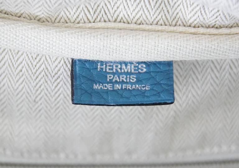 Hermes 35 Victoria II Bag Blue Jean Palladium Hardware For Sale 5