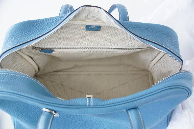 Hermes 35 Victoria II Bag Blue Jean Palladium Hardware For Sale 6