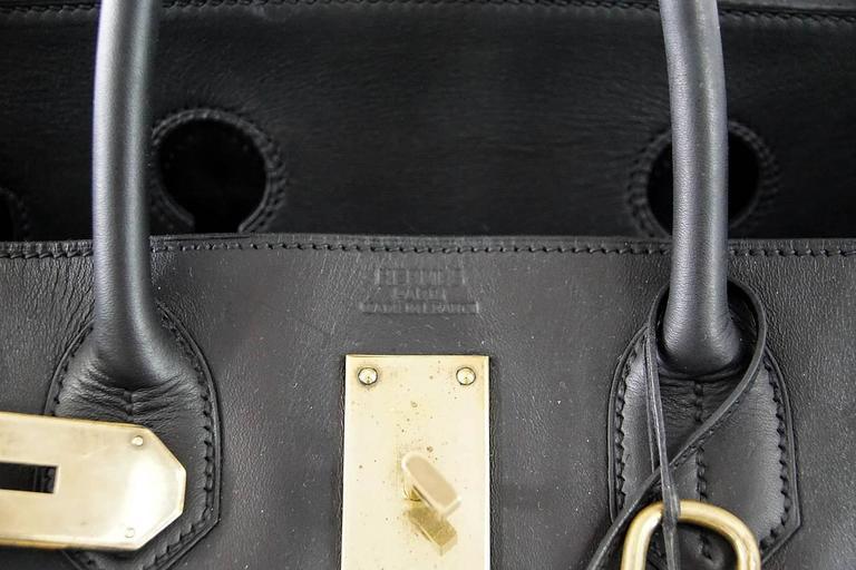 HERMES BIRKIN 50 Bag Hac Black Vache Noir Leather Brass Hardware 4
