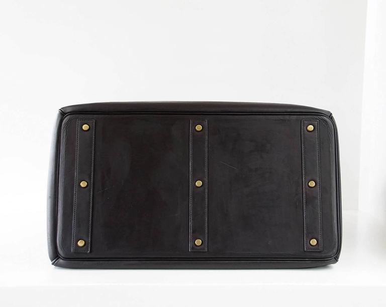 HERMES BIRKIN 50 Bag Hac Black Vache Noir Leather Brass Hardware 7