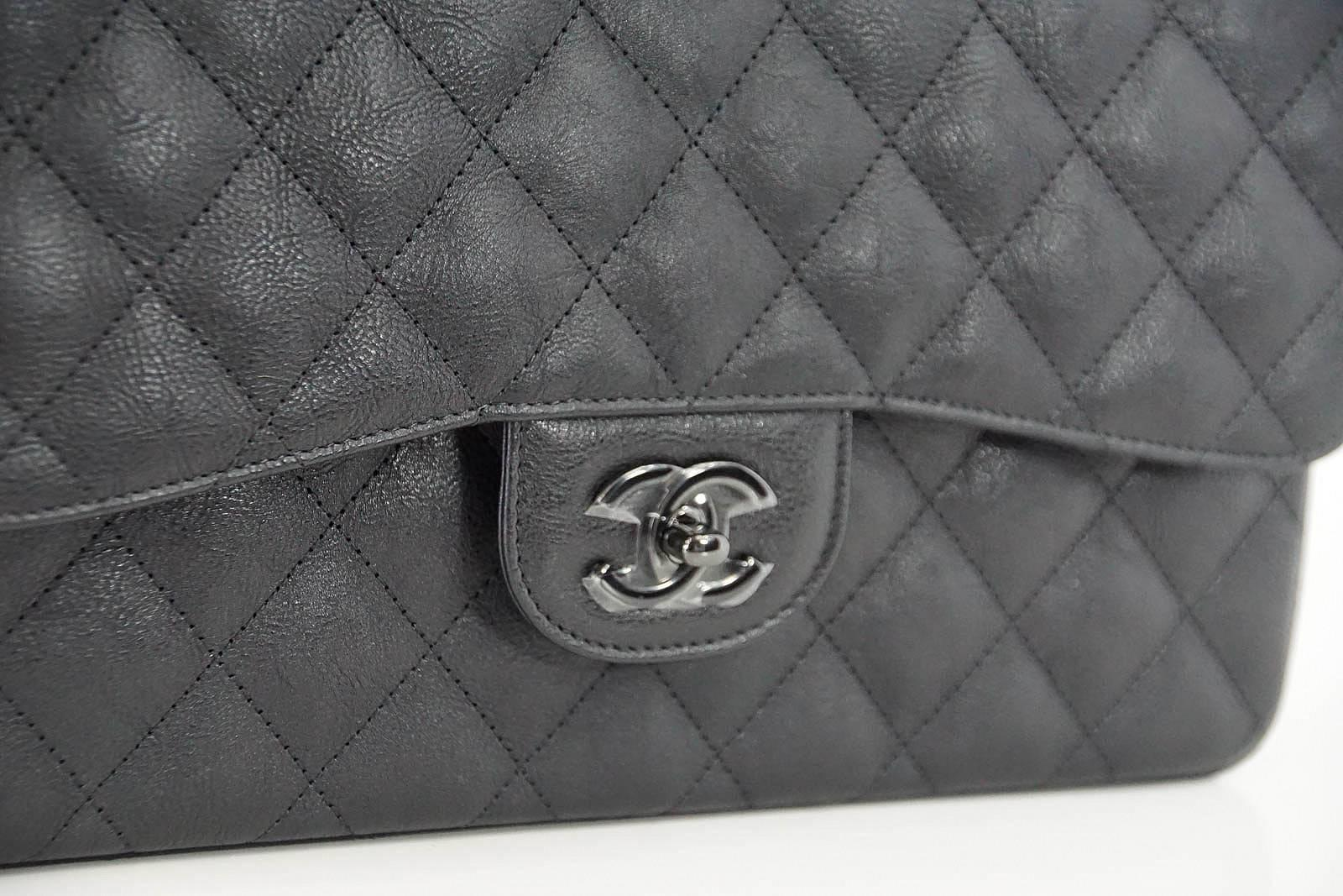 27d37da49859 CHANEL Bag Quilted So Black Jumbo Classic Double Flap Calfskin Limited  Edition at 1stdibs