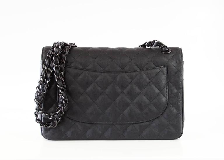 CHANEL Bag Quilted So Black Jumbo Classic Double Flap Calfskin Limited Edition In New never worn Condition For Sale In Miami, FL