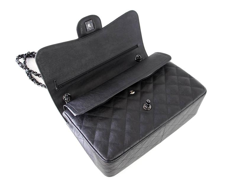 Women's CHANEL Bag Quilted So Black Jumbo Classic Double Flap Calfskin Limited Edition For Sale