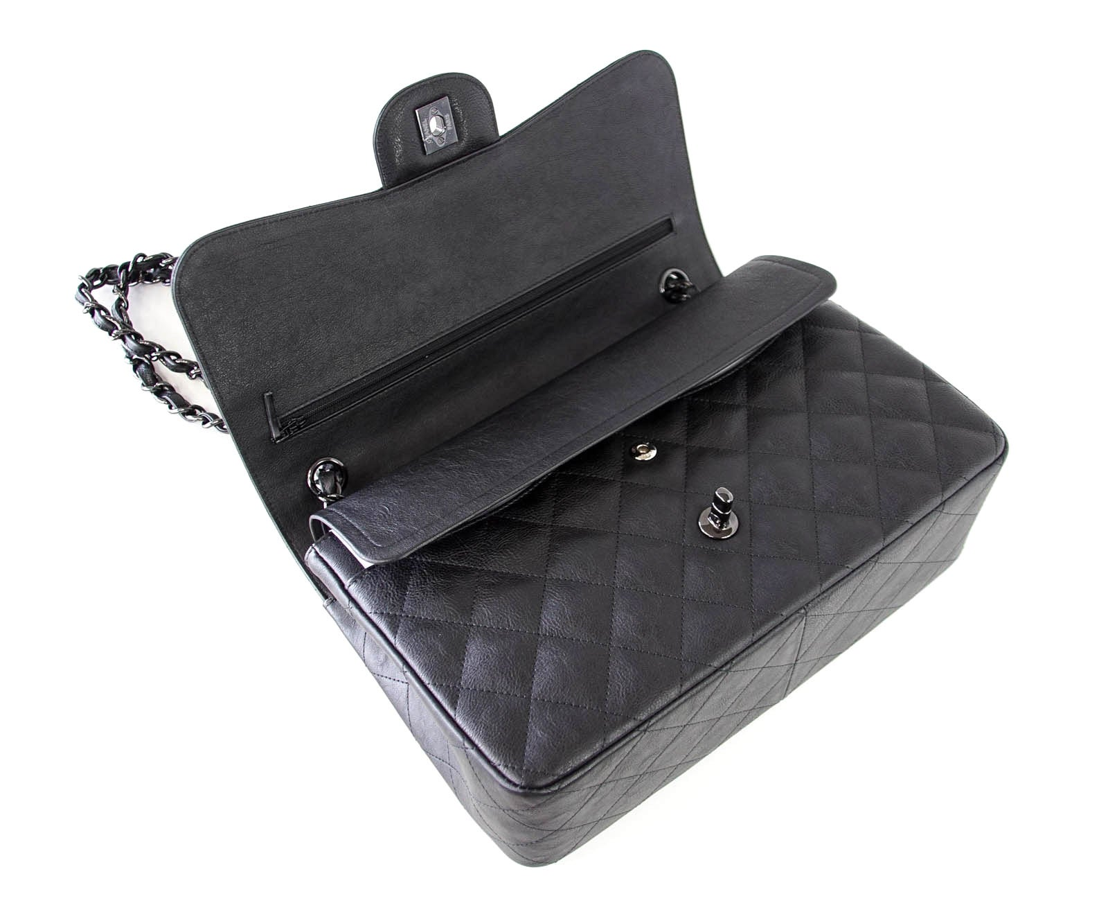 1c70a4d55460 CHANEL Bag Quilted So Black Jumbo Classic Double Flap Calfskin Limited  Edition at 1stdibs