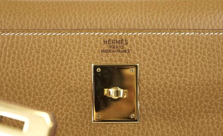 Hermes Kelly 32 Sellier Bag Vintage Sable Ardennes Leather Gold Hardware  3