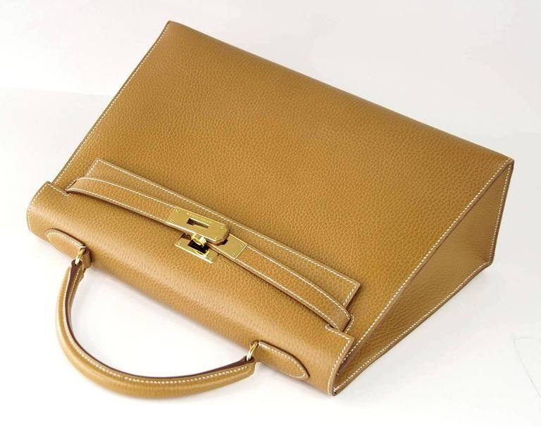 Hermes Kelly 32 Sellier Bag Vintage Sable Ardennes Leather Gold Hardware  4