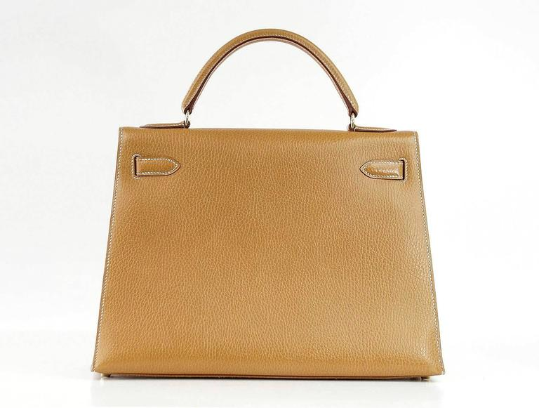 Hermes Kelly 32 Sellier Bag Vintage Sable Ardennes Leather Gold Hardware  6