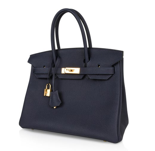 d294e2e45898 Hermes Birkin 30 Bag Blue Nuit Gold Hardware Togo Leather at 1stdibs