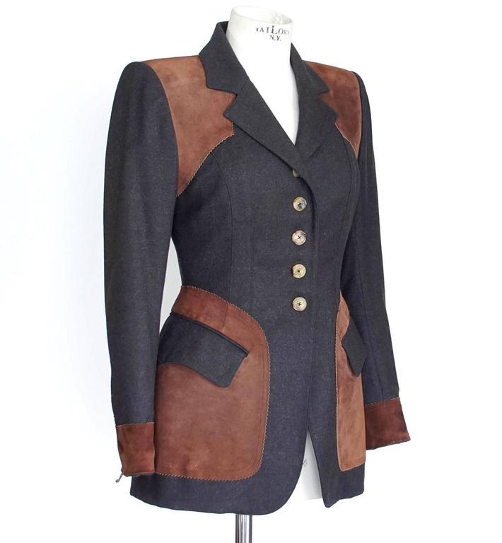 Hermes Jacket Striking Shape and Details in Wool and Suede Vintage  38 / 6 2