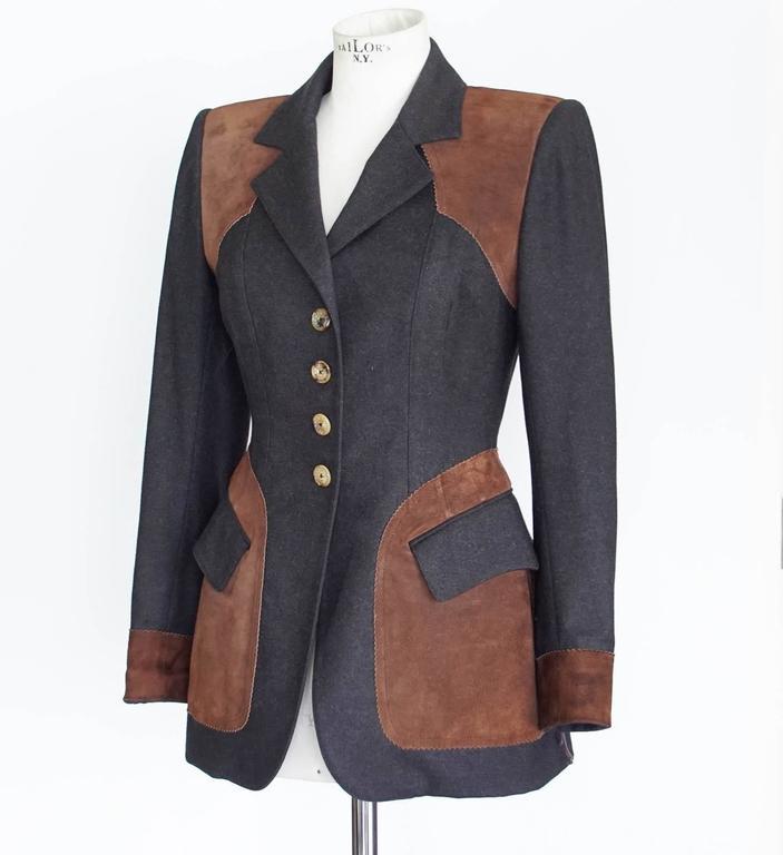 Hermes Jacket Striking Shape and Details in Wool and Suede Vintage  38 / 6 3