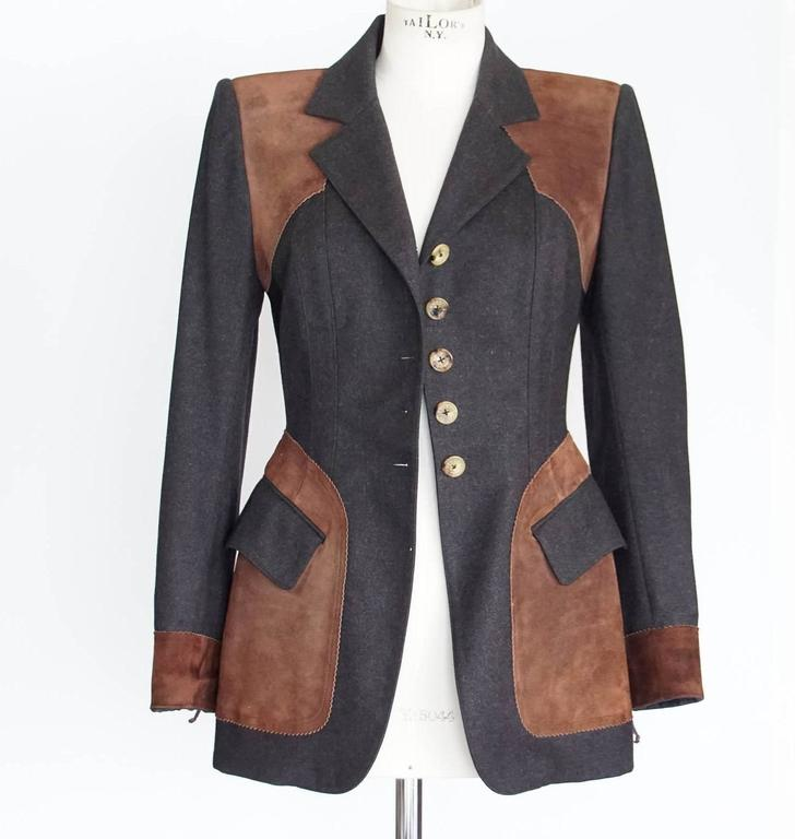 Hermes Jacket Striking Shape and Details in Wool and Suede Vintage  38 / 6 4