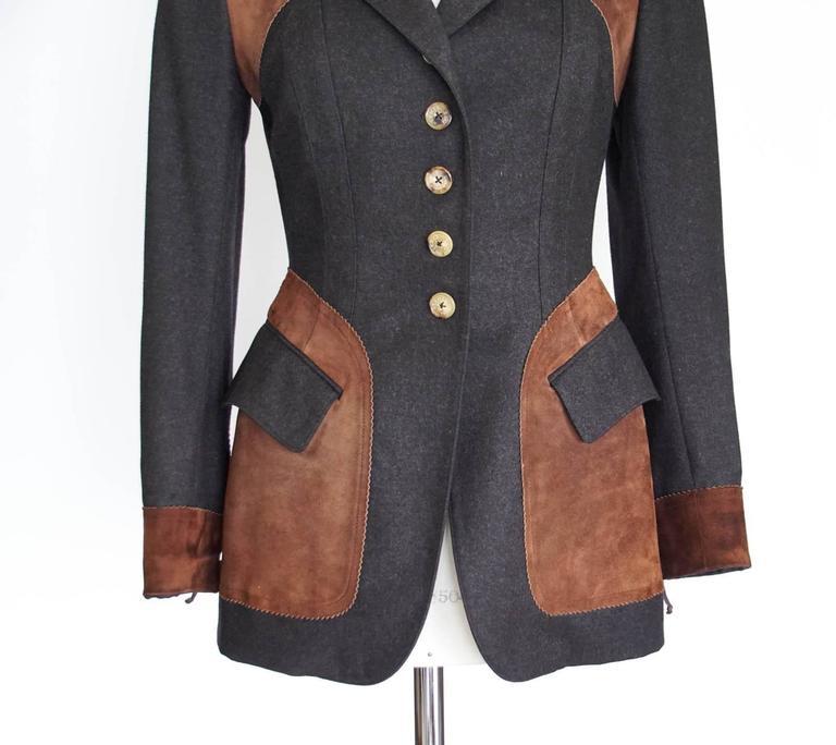 Hermes Jacket Striking Shape and Details in Wool and Suede Vintage  38 / 6 5