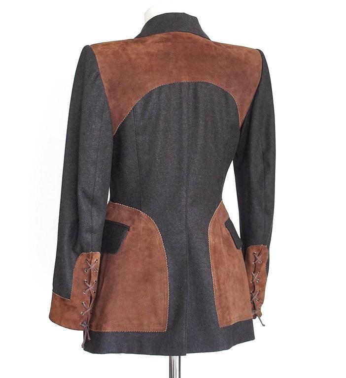 Hermes Jacket Striking Shape and Details in Wool and Suede Vintage  38 / 6 6