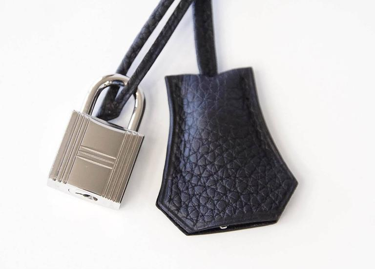 Women's or Men's Hermes Birkin 40 Bag Rich Matte Black Togo Palladium Hardware For Sale