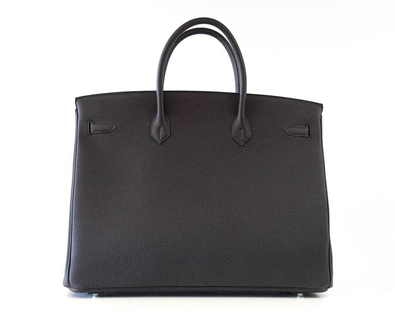 Hermes Birkin 40 Bag Rich Matte Black Togo Palladium Hardware For Sale 1