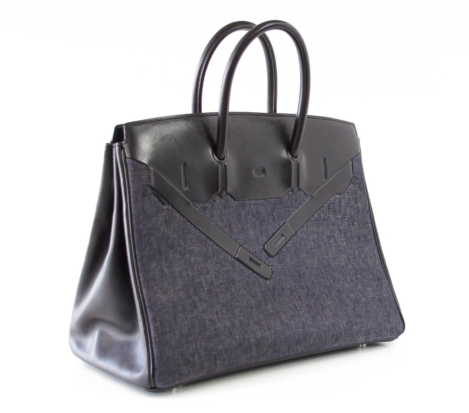 e104b37ccea Hermes Birkin 35 Bag Rare Limited Edition Shadow Denim at 1stdibs