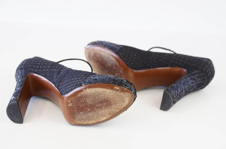 Louis Vuitton Shoe Mary Jane Tweed Sequined Detail 39  / 9 For Sale 2