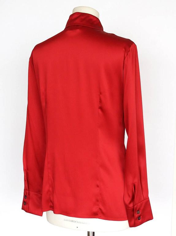 Women's Gianfranco Ferre Top Jewel Chinese Red Blouse Unique Buttons 42 / 6 For Sale