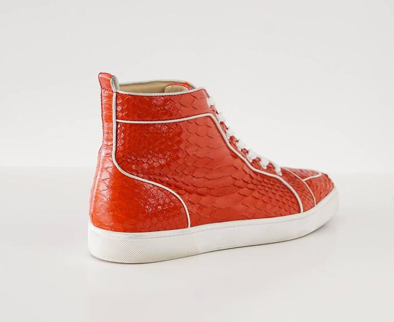 Christian Louboutin Sneaker Men's Red Rantus Orlato Flat Snakeskin Crystal  43  In Excellent Condition For Sale In Miami, FL