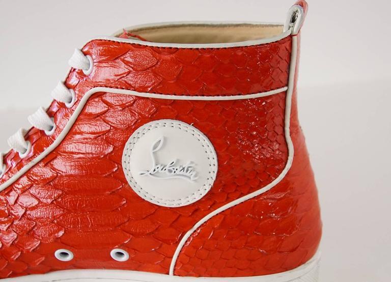 Christian Louboutin Sneaker Men's Red Rantus Orlato Flat Snakeskin Crystal  43  For Sale 1