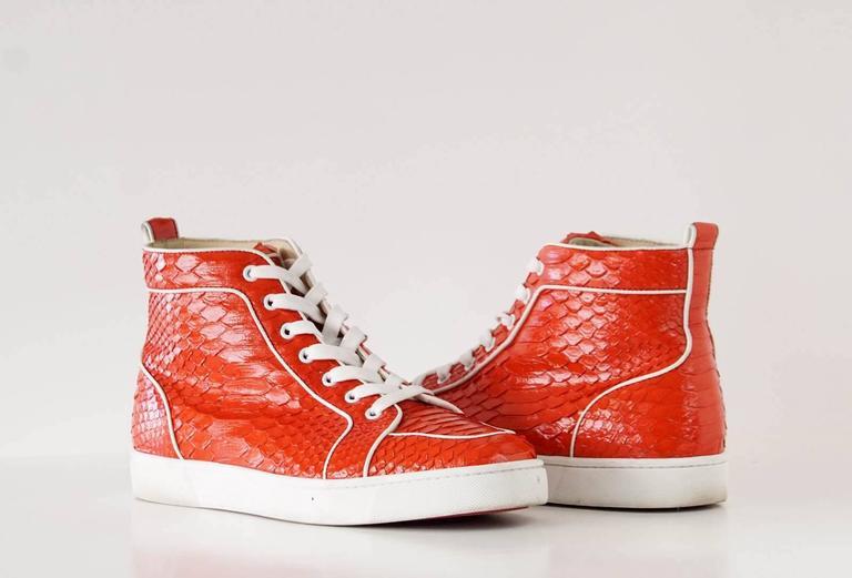 Christian Louboutin Sneaker Men's Red Rantus Orlato Flat Snakeskin Crystal  43  For Sale 2