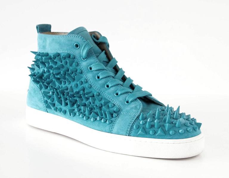 Christian Louboutin Sneakers Turquoise Louis Pik Pik Flat Suede 43.5 / 10.5 mint 3