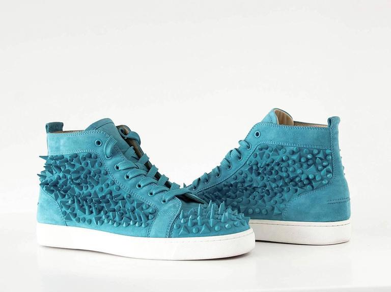 Christian Louboutin Sneakers Turquoise Louis Pik Pik Flat Suede 43.5 / 10.5 mint 5