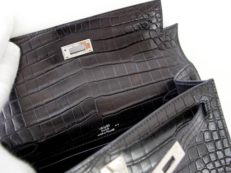 43c018c7936 Hermes Kelly Pochette Clutch Bag Matte Black Crocodile Palladium For Sale 2