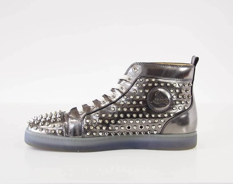 Christian Louboutin Men's Louis Flat Antispecchio Spike Gray Silver  43 / 10  4
