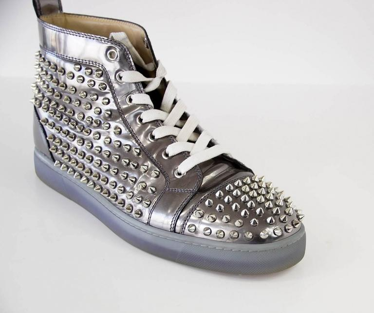 Christian Louboutin Men's Louis Flat Antispecchio Spike Gray Silver  43 / 10  5