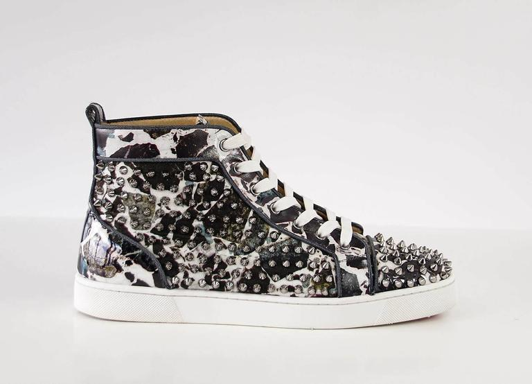 Christian Louboutin Louis Flat Patent Carr Spikes High Top Sneaker 42.5 / 2