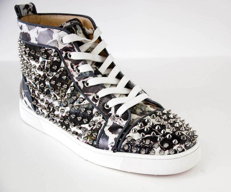 Christian Louboutin Louis Flat Patent Carr Spikes High Top Sneaker 42.5 / 3