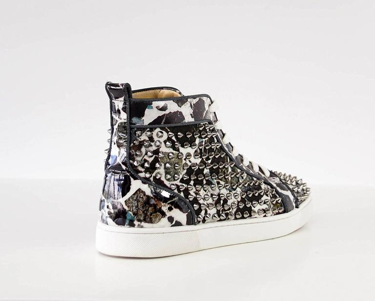 Christian Louboutin Louis Flat Patent Carr Spikes High Top Sneaker 42.5 / 4